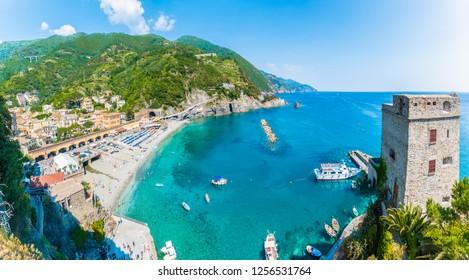 Aerial view of Monterosso al Mare, a coastal village in Cinque Terre, Italy