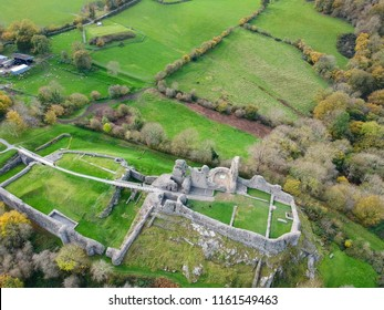 Aerial view Montgomery Castle in Powys, Wales. Top view Montgomery Castle ruin, in Wales.