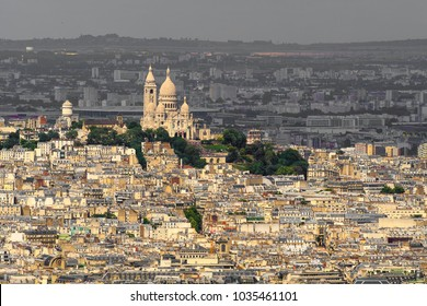 Aerial view of Montmartre with the Basilica of the Sacre Coeur, Paris, the capital of France