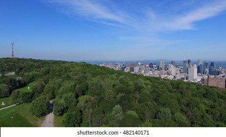 Aerial View of Montreal City Downtown During Summer 2016