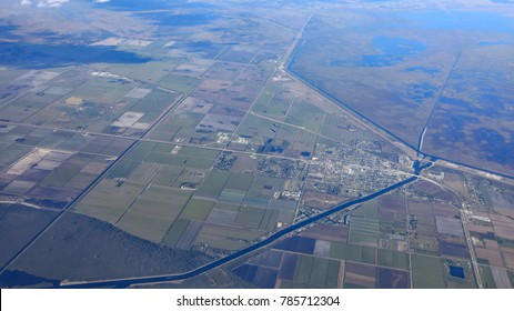 Aerial view of Moore Haven, Florida, near Clewiston, with the Moore Haven Bridge, and the Caloosahatchee Canal, from Lake Okeechobee.