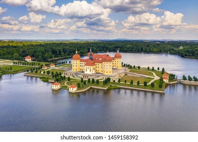 Aerial view of Moritzburg Castle in Saxony - Germany.