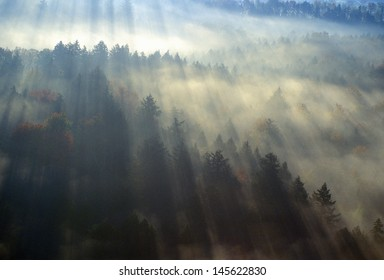 Aerial view of Morning fog and sunrise in autumn near Stowe, VT on Scenic Route 100