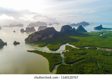 Aerial view morning sunrise on mangrove forest mountain landscape of nature