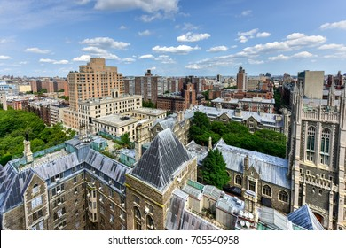Aerial view of Morningside Heights in New York City.