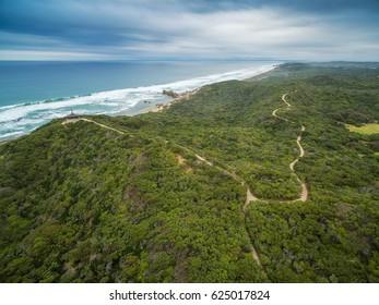 Aerial view of Mornington Peninsula Coastline and walking trail near Sorrento Ocean Beach and Coppins Lookout. Mornington Peninsula, Melbourne, Australia