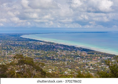 Aerial view of Mornington Peninsula, Melbourne, Australia. Houses scattered across large bay area
