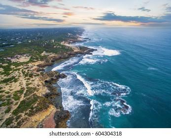 Aerial view of Mornington Peninsula in the morning near Blairgowrie Back Beach. Melbourne, Victoria, Australia