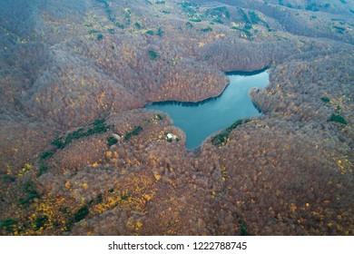 Aerial view of Morske oko in Vihorlat Mountains, Slovakia