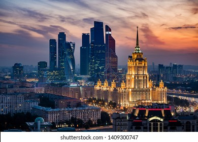 Aerial view of Moscow City skyline at sunset showing architectural landmarks Ukraine Hotel and International Business Center in Moscow, Russia.
