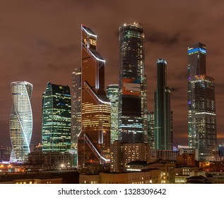Aerial view of Moscow city skyscrapers.  Moscow International Business Centre at twilight time