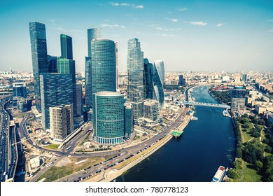 Aerial view of Moscow downtown, Russia. Moscow skyline. Modern skyscrapers over Moskva River in sunny Moscow. Cityscape and landscape of Moscow in summer.