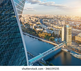 """Aerial view from the Moscow International Business Center """"Moscow-City"""" with the Evolution Tower, the Bagration bridge, the Tower 2000 and the Moskva river"""