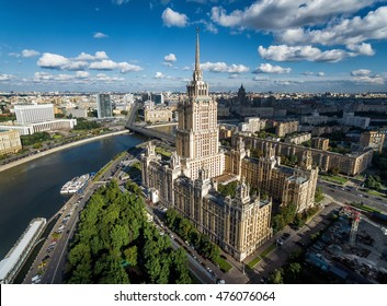 Aerial view of Moscow with Moskva River, Russia. Moscow skyline in summer. Panorama of city with Radisson Royal Hotel (Ukraine), landmark of Moscow. Historical architecture of old Moscow from above.