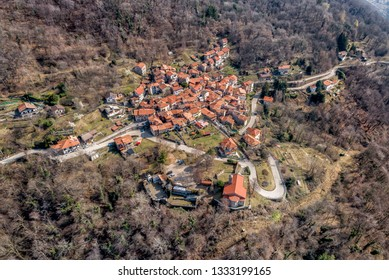 Aerial view of most famous painted village Arcumeggia in province of Varese, Italy