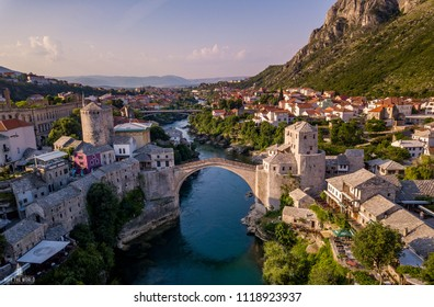 Aerial view of Mostar with Old Bridge, Stari Most with emerald river Neretva, Bosnia and Herzegovina.