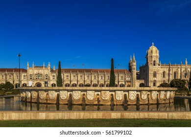 Aerial view of Mosteiro dos Jeronimos, located in the Belem district of Lisbon, Portugal.