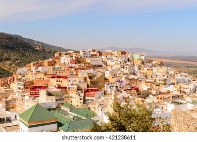 Aerial view of Moulay Idriss, the holy town in Morocco, named after Moulay Idriss I arrived in 789 bringing the religion of Islam