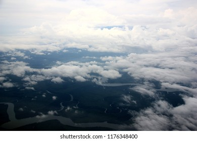 Aerial View of Mount Cameroon covered by Clouds, near Douala, Cameroon