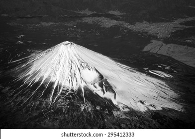 Aerial view of Mount Fuji, Japan. Mt. Fuji is the highest mountain in Japan. It was added to the World Heritage in June, 2013.