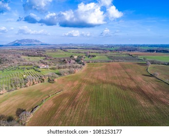 Aerial view of the Mount Soratte. Landscape of the Roman countryside.