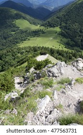 Aerial view from mount Velky Rozsutec, Medziholie crossroads in mountain saddle, Lesser Fatra, Low Fatra mountains, Slovakia