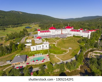 Aerial view of Mount Washington Hotel in summer in Bretton Woods, New Hampshire, USA. This Hotel hosted the Bretton Woods monetary conference in 1944.