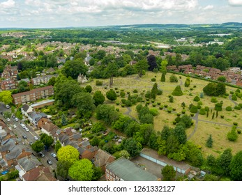 Aerial view of Mount Zion Baptist Church and graveyard located in Ashford, Kent, UK