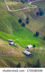 Aerial view of mountain cottages in south tyrol
