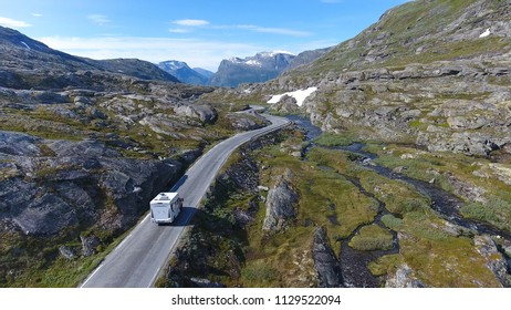 Aerial view of mountain and road to Dalsnibba, travelling caravan, Norway
