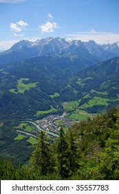 aerial view of mountain valley in Austria