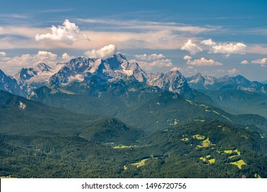 aerial view to mountain Zugspitze in Bavaria, Germany