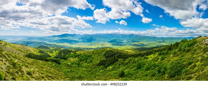 aerial view of a mountainous landscape in macedonia view from the top of vodno mountain near skopje