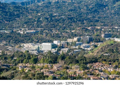 Aerial view of the Mountains and Altadena area at Los Angeles, California