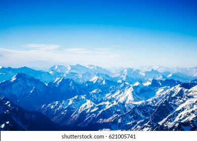 Aerial view of the mountains in blue color