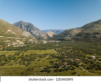 Aerial view of mountains and land in autumn located in the Albanian Riviera (Borsh, Albania)