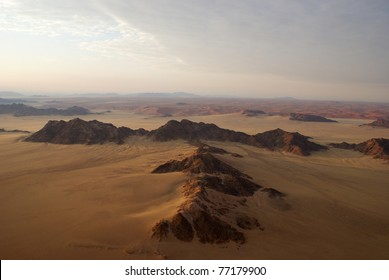 Aerial view of mountains in Namib desert