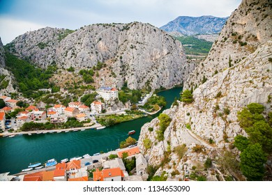 aerial view of the mountains near the small town Omis, Makarska Riviera, Croatia