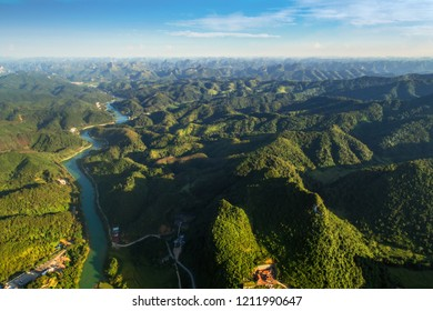 Aerial view of mountains and Quay Son river at Trung Khanh town, Cao Bang province, Vietnam. View from Ban Gioc waterfall