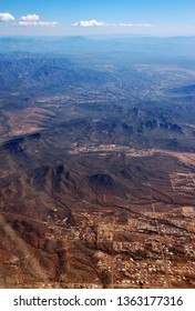 Aerial view of mountains of Tonto National Forest and Cave Creek from Bascom Hills Ryan Estates Pheonix Arizona