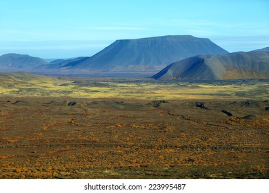 Aerial view of mountains and volcanic landscape with fall colors near myvatn region in northern Iceland
