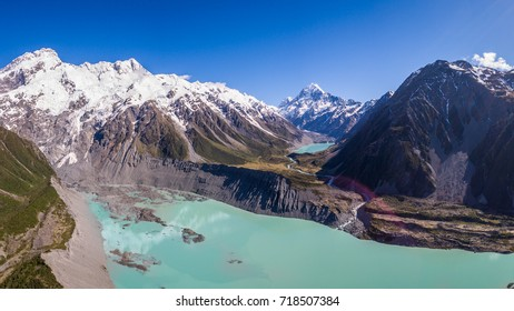 Aerial view of Mt Cook landscape captured by drone in Hooker Valley, Aoraki Mt Cook National Park, New Zealand. Mt Cook, the highest mountain of New Zealand, is the prominent destination for tourist.