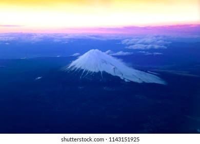 Aerial View of Mt. Fuji during sunset in Japan. Mt. Fuji is the tallest mountain in Japan.