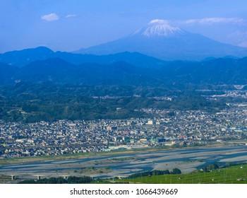 Aerial View of Mt Fuji and Shizuoka City