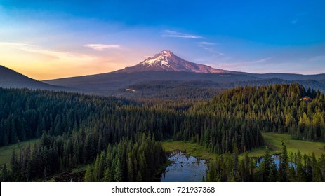 Aerial View of Mt. Hood Above Trillium Lake