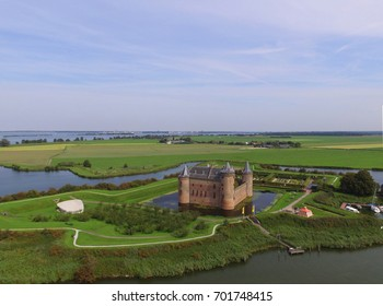 Aerial view of the Muiderslot castle, Netherlands