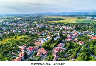 Aerial view of Mukachevo, a town in Transcarpathia, Ukraine