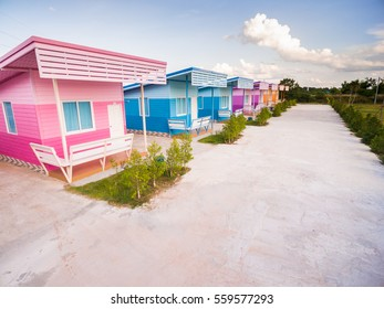 Aerial view of Multi-Colored small house on the countryside