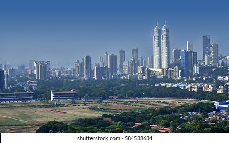 Aerial view of Mumbai skyline India financial centre