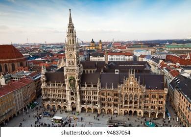 Aerial view of Munchen: Marienplatz and Frauenkirche
